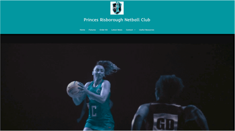 PRNC netball home page built by Beknowin