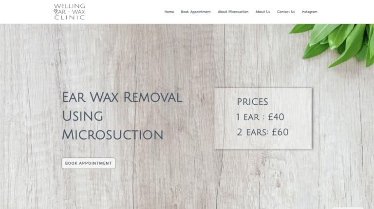 Welling Ear Wax Clinic - website developed by Beknowin